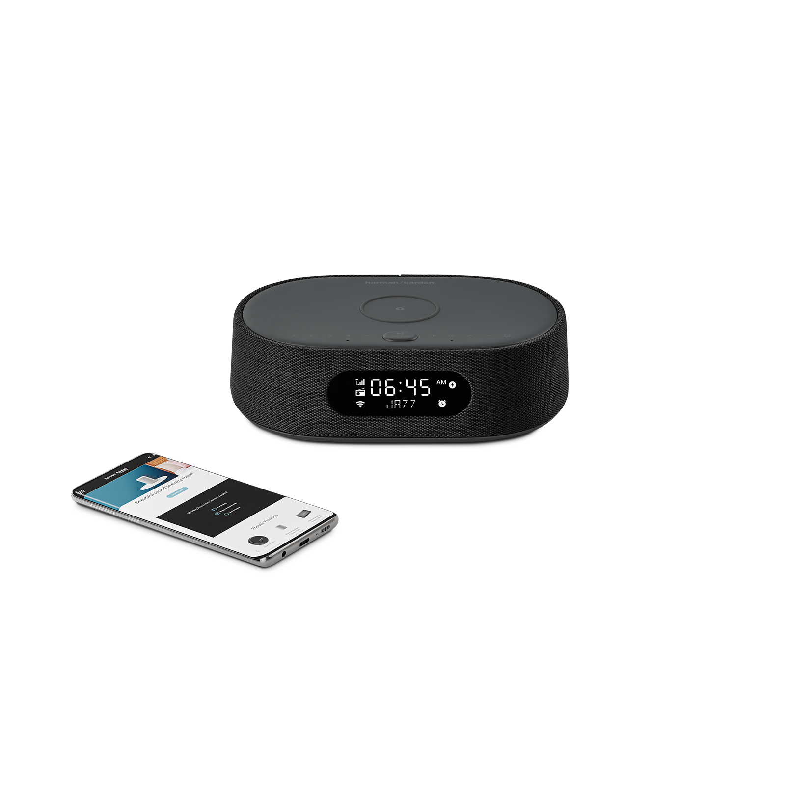 Harman Kardon Citation Oasis FM - Black - Voice-controlled speaker with clock radio and wireless phone charging - Detailshot 1